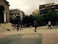 Children playing in St. Panteleimon Square
