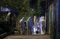 Forensics experts work at the scene after a bomb blast, in central Athens, Greece, April 19, 2017. REUTERS/Alkis Konstantinidis