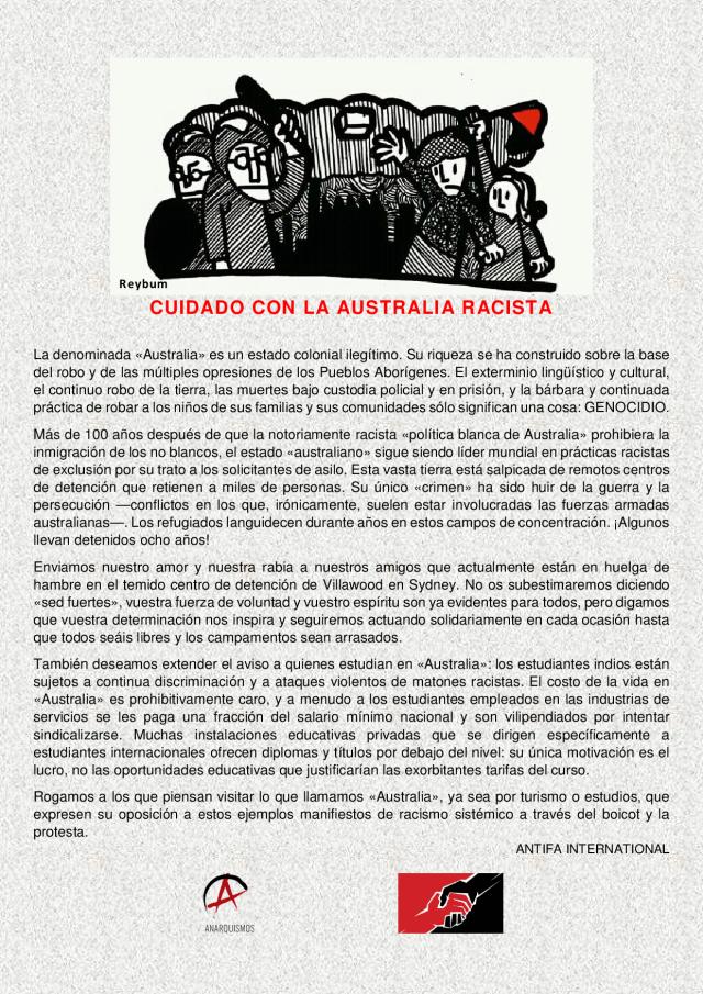 CUIDADO CON LA AUSTRALIA RACISTA